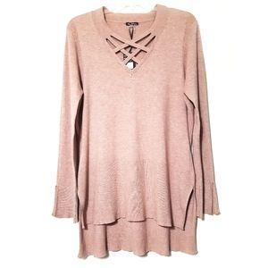 Lattice Neck Hi-Lo Sweater Wool Blend Supe…